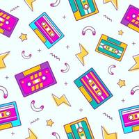 Cassette Tape Seamless Pattern using 90s Style vector