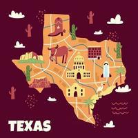 mapa de texas dibujado a mano vector