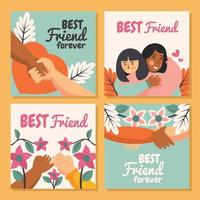 Four Cards Representing True Friendship vector