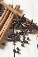 Spices and herbs. Food and cuisine ingredients. Cinnamon sticks, anise stars and black peppercorns on a wooden background. photo
