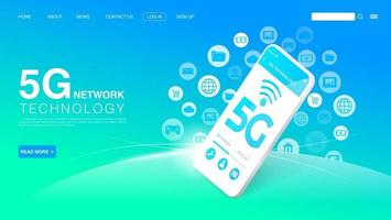 5G Network Wireless Technology Concept. High-Speed Internet. Landing Page Template. Vector EPS 10