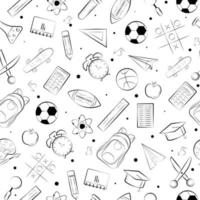 back to school items seamless pattern background. hand drawn vector doodle seamless pattern.