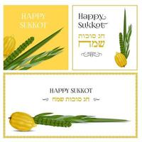 Happy Sukkot in Hebrew. Traditional symbols ,The four species Etrog, lulav, hadas, arava. Sukkot collection set of templates for flyers, banners, posters, greeting cards and more. Vector illustration