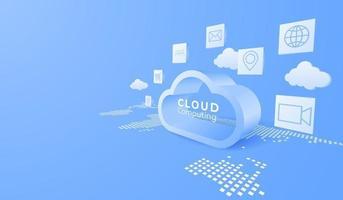 3D digital cloud computing technology background. Online service. vector art illustration