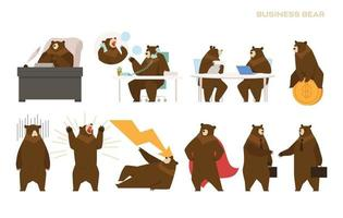 Business bear character collection. vector