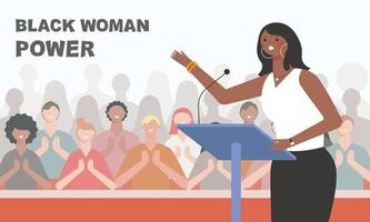 Black female character giving a lecture on stage and clapping audience. vector