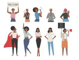 A collection of characters demonstrating the power of black women. vector