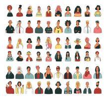 colección de personajes masculinos y femeninos de la parte superior del cuerpo en diversas modas y peinados. vector