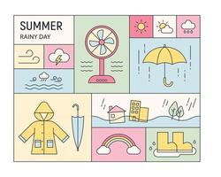 Summer and rainy season icons and objects are arranged in a quilted layout. outline simple vector illustration.
