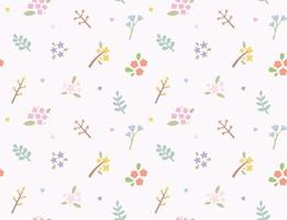 Simple and cute flower and leaf design seamless pattern. vector