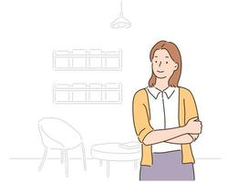 A woman is standing with her arms crossed. hand drawn style vector design illustrations.