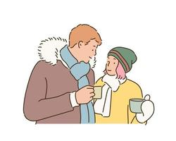 Couple in winter fashion style holding a hot drink in their hands. hand drawn style vector design illustrations.