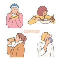 People eating warm winter food. hand drawn style vector design illustrations.