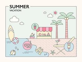 Cute beach resort background illustration. outline simple vector illustration.