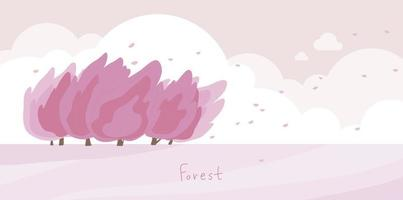 Natural landscape with pink trees blowing in the wind. vector