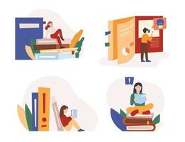 People are reading huge books piled up. flat design style minimal vector illustration.