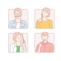 In a square frame, people holding pencils have thoughtful expressions. hand drawn style vector design illustrations.