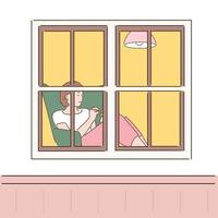 A woman looking through the window is sitting on a sofa and resting. hand drawn style vector design illustrations.