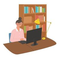 A woman is working on a computer in her study. vector