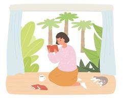 A girl leisurely reading a book on the floor of a house with a garden. A cat is sleeping next to her. vector