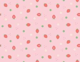 A pattern background with small and cute strawberries and flowers and leaves arranged randomly. Simple pattern design template. vector