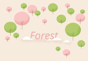 Forest background with round trees. vector