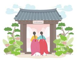 Two girls in traditional Korean costumes enter through the traditional Korean gate. vector