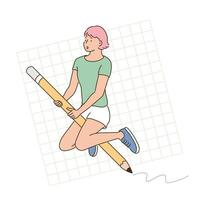 A woman is riding a large pencil. hand drawn style vector design illustrations.