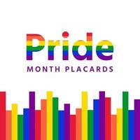 Pride month sign and with various square lines vector