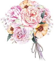 Bouquet rose and poppy with watercolor 5 vector