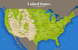 mapa de estados unidos de américa vector