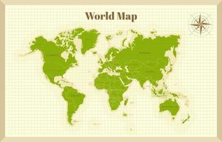 World Map On Old Paper vector