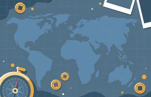 World Map Background With Compass vector