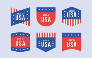 Flat made in USA badges collection vector