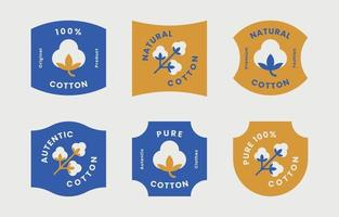 Cotton badges collection with blue and gold color vector