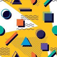 Colourful geometric memphis 90s pattern vector