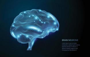 Wireframe Brain Neurons Concept vector