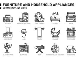 Furniture and household appliances icons vector
