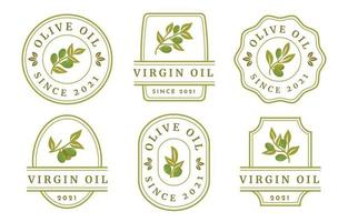 Olive oil label collections vector