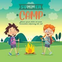 Funny Kids At Summer Camp vector