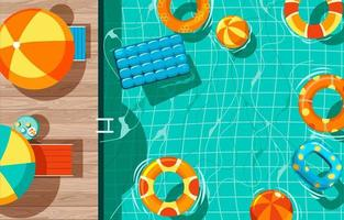 Swimming Pool with Stair and Wooden Deck and Swim Rings on Top View vector