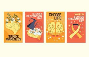 Card Collection on the Theme of World Suicide Prevention Day Across the World vector