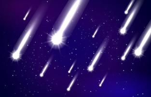 Fondo de meteorito con algunos meteoritos brillantes. vector