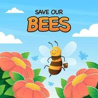 Honey Bee Flying Over Flowers vector