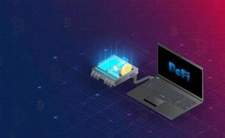 conexión de holograma de blockchain defi futurista. concepto futuro vector e ilustración