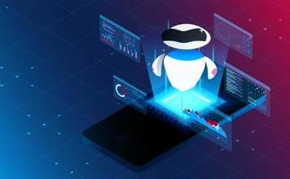 Isometric intelligent artificial analysis on smart phone.Futuristic concept.vector and illustration vector