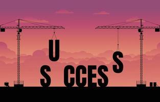 Construction site crane building a business text idea concept vector