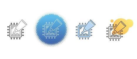 este es un conjunto de iconos de contorno y color con pasta térmica y un procesador de computadora vector