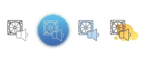 This is a set of contour and color icons for the computer cooler noise vector