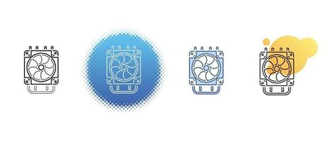 This is a set of contour and color icons for the computer radiator vector